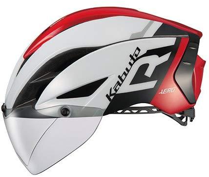 OGK KABUTO(オージーケーカブト) ヘルメット AERO-R1 ホワイトレッド S/M (頭囲:55cm-58cm) B079K7F1Y9 1枚目